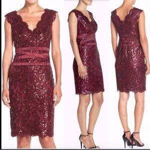 NWT Tadashi Shoji Banded Waist Sequin Lace Dress
